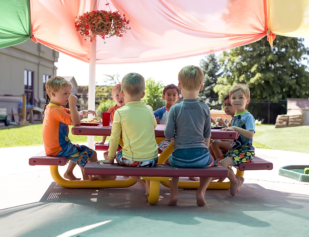 Children Eating Outdoors
